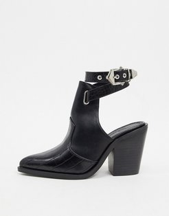 Erase western cut out boots in black