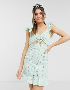 broderie mini sundress with cut out and frill straps in mint-Green