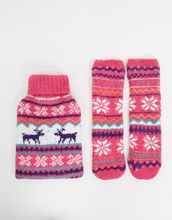 fairisle hot water bottle and socks-Pink