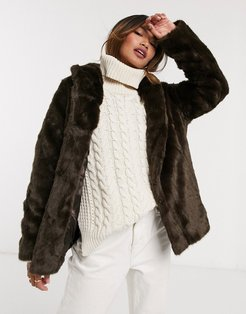 faux-fur stand collar coat in brown-Red