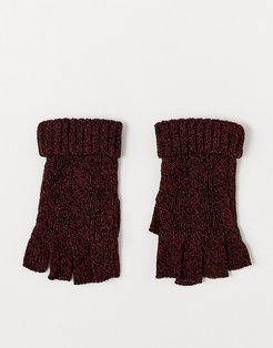 fingerless gloves burgundy and black cable knit-Red