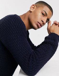 fluffy sweater with basket texture in navy