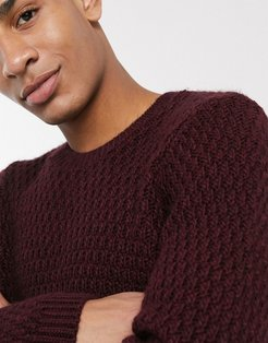 fluffy sweater with basket texture in oxblood-Red