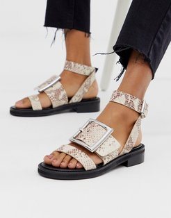 Forever premium leather flat sandals in snake-Multi