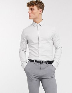 formal skinny fit oxford shirt in gray with double cuff-Grey