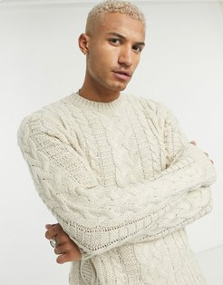 heavyweight cable knit crew neck sweater in oatmeal-Neutral