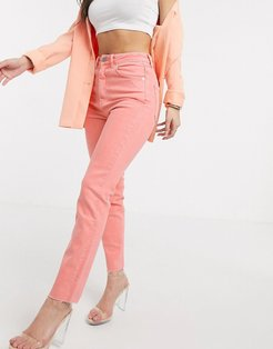 high rise 'high rise farleigh' 'slim' mom jeans with raw hem in coral-Orange