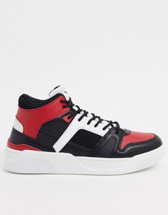 high top sneakers in black and red