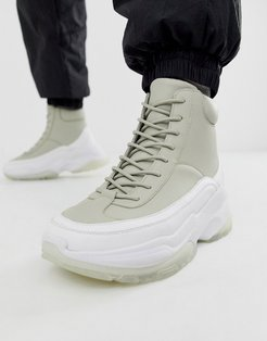 high top sneakers in gray with chunky sole