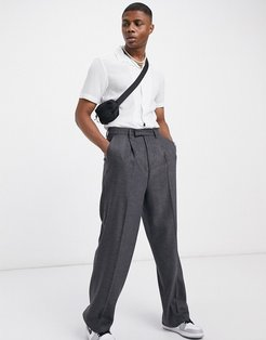 high waist wool mix smart pants with wide leg in charcoal-Grey
