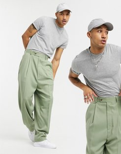 high waisted balloon suit pants in khaki twill-Green