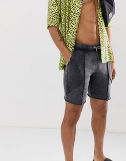 jersey skinny shorts with color block and acid wash in black