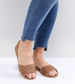 Juna Wide Fit Leather Summer Shoes-Tan