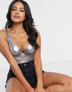 Kayla vinyl longline padded underwire bra with cut out front-Silver