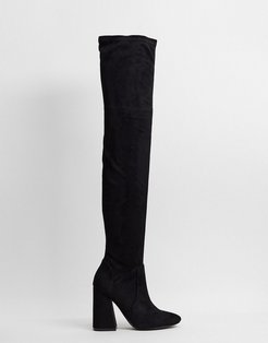 Keeper heeled thigh high boots in black