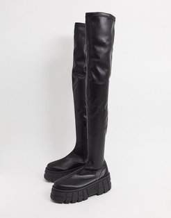Kellie chunky over the knee boots in black
