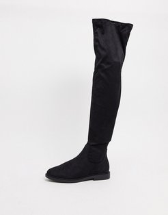 Kennedy flat over the knee boots in black