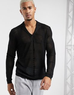 knitted long sleeve revere polo in viscose mix yarn-Black