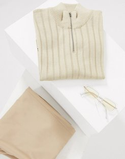 knitted muscle fit half zip t-shirt in oatmeal-Beige