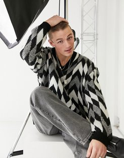 knitted oversized v-neck sweater with monochrome checkerboard-Black