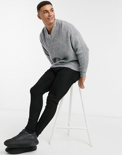 knitted ribbed boxy v-neck sweater in gray-Grey