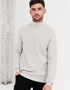knitted roll neck sweater with basket texture in light gray-Grey