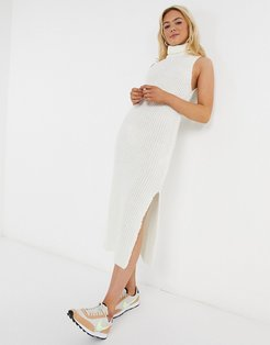 knitted sleeveless midi dress in cream-White