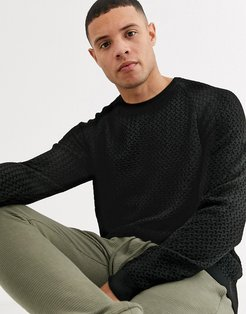 knitted sweater with basket texture in black