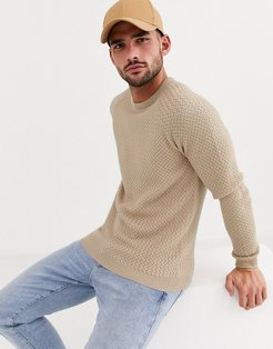 knitted sweater with basket texture in oatmeal-Beige