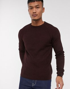 knitted sweater with basket texture in red