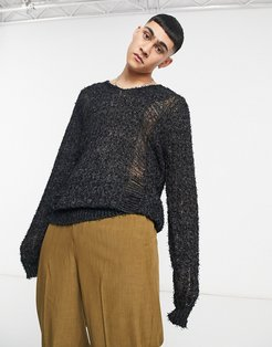 knitted v-neck sweater in textured charcoal yarn-Grey
