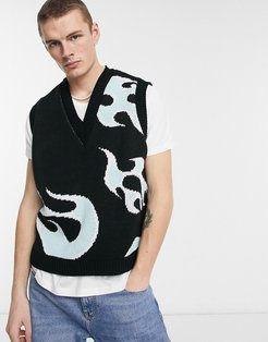 knitted vest with flame pattern in black