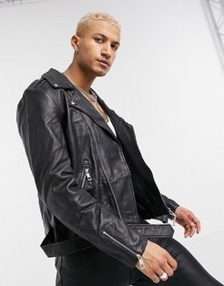 leather biker jacket with zips in black