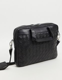 leather briefcase satchel in black weave