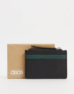 leather card holder with contrast dark green panel with zip-Black