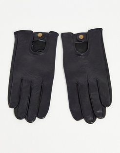 leather driving gloves in black