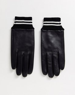 leather gloves in black with striped ribbed cuff