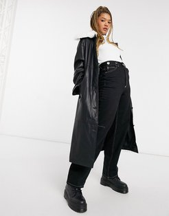 leather look trench with faux fur collar in black