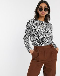 long sleeve top with drape detail in mono print-Multi