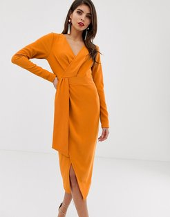 long sleeve wrap midi dress with belt detail-Orange