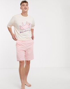 lounge pyjama short and oversized tshirt set in pink with print