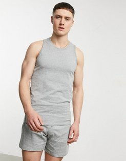 lounge tank and boxer pajama set in heather gray-Grey