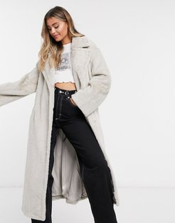 luxe belted faux fur maxi coat in cream