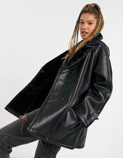 luxe shearling belted jacket in black