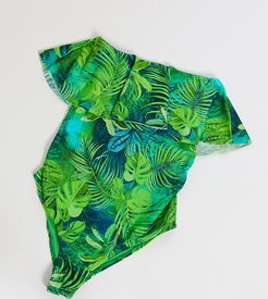 ASOS DESIGN maternity bandeau minimal frill swimsuit in exotic palm print-Multi