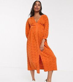 ASOS DESIGN Maternity broderie midi dress with hook and eye in orange