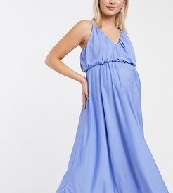 ASOS DESIGN Maternity cami plunge midi dress with blouson top in blue-Blues