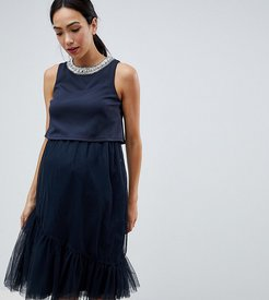 ASOS DESIGN Maternity Nursing Tulle Midi Dress With Double Layer-Navy