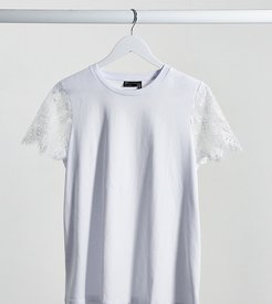 ASOS DESIGN Maternity t-shirt with lace sleeve-White