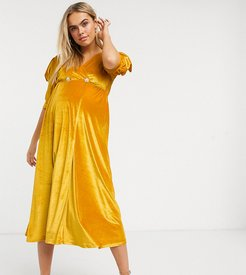 ASOS DESIGN Maternity velvet midi dress with puff sleeve and rhinestone button in ochre-Yellow